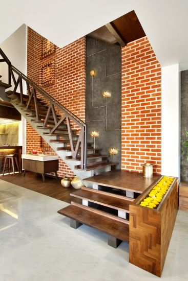 Stairs indian interior design of wood and brick scheduled via http tailwindapp also pin by varsha sasilal on staircase home rh pinterest