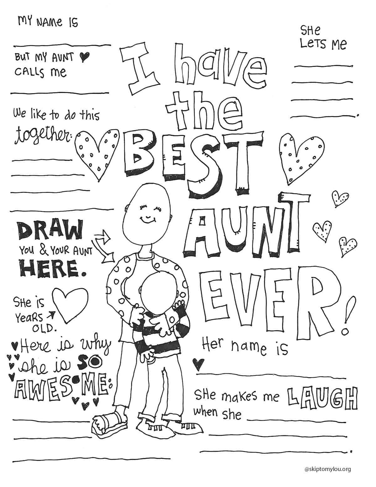 Best Aunt Coloring Page Coloring Pages Best Aunt Aunt