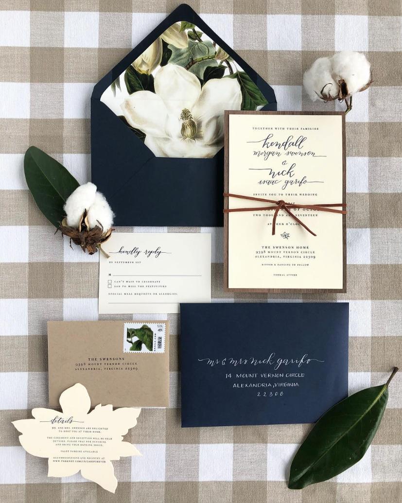 24943bc3c818 Magnolia and Cotton letterpress wedding invitations | Wedding ...