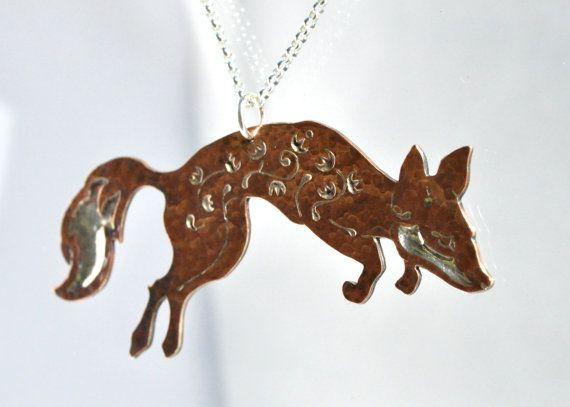 fox necklace..Woodland Fox Necklace / Pendant / Floral Fox by BlackRabbitStudio