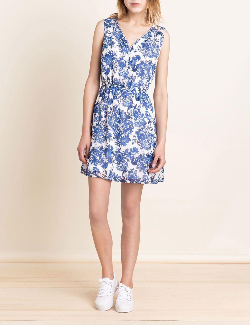 robe mousseline fleurie blanche et bleue