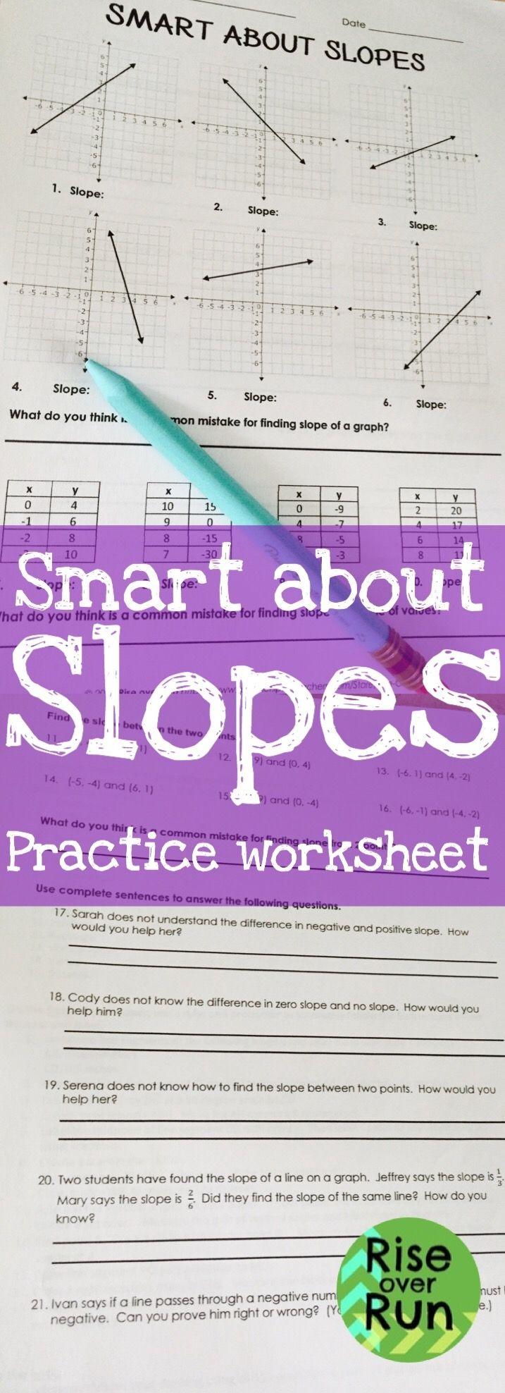 Slope Practice Worksheet Math lessons, 8th grade math