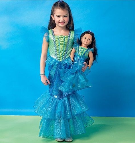 SEWING PATTERN MAKE LITTLE MERMAID COSTUME FOR GIRL /& AMERICAN GIRL DOLL ARIEL!