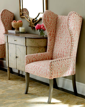 Pink Damask Wingback Chair   Horchow