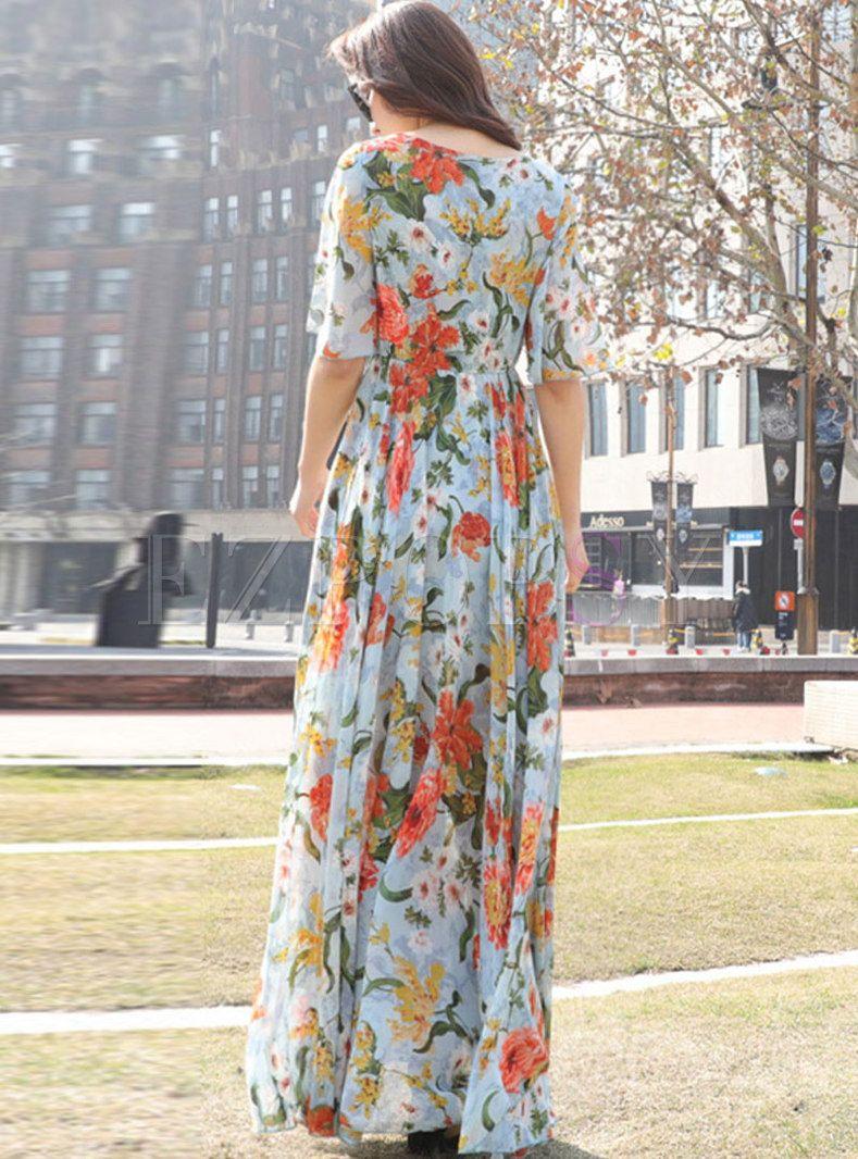 Chiffon Print High Waist Holiday Maxi Dress   Holiday maxi ...