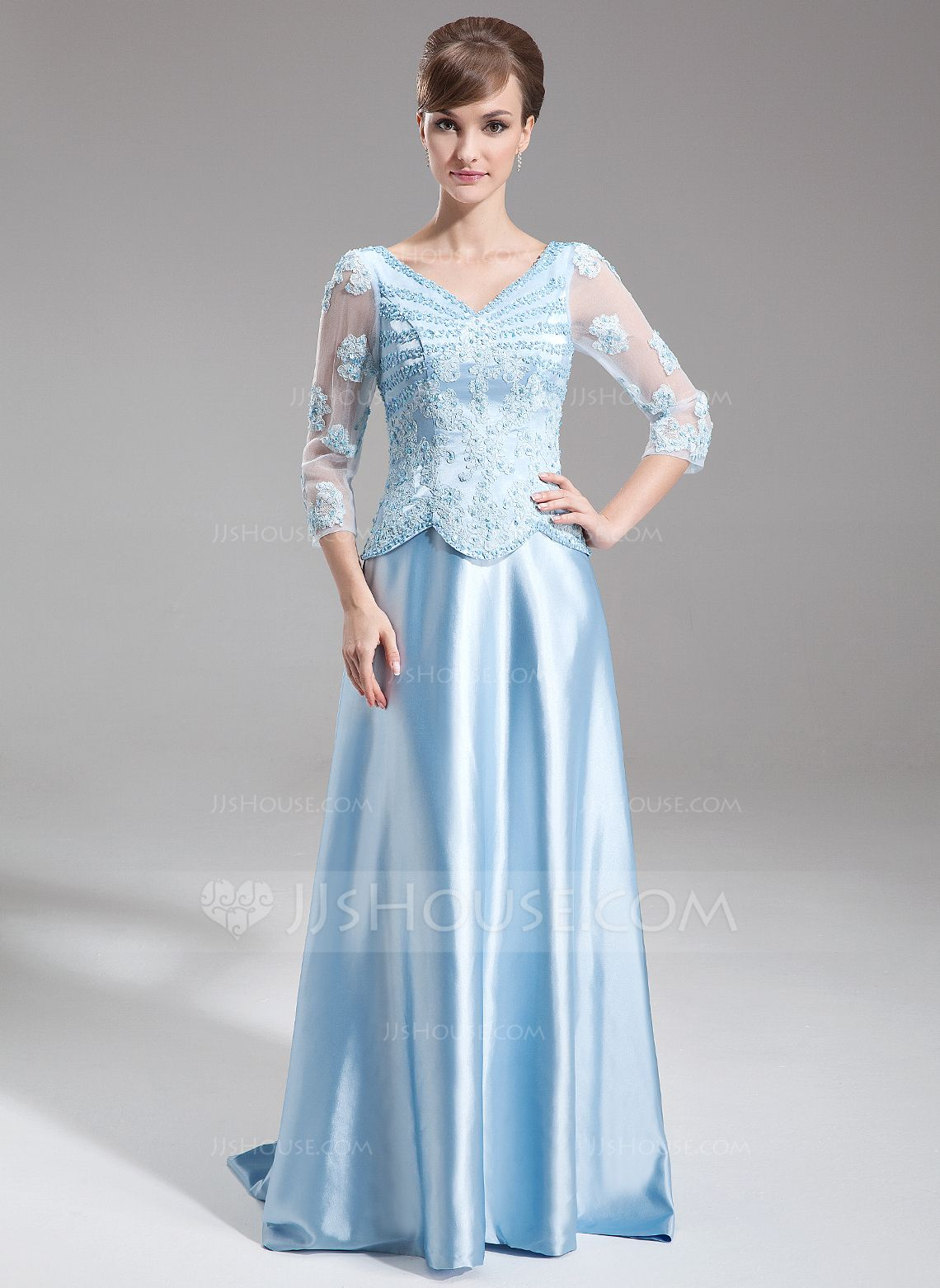 A-Line/Princess V-neck Sweep Train Charmeuse Mother of the Bride ...