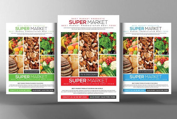 Grocery Store Promotion Flyer by Business Templates on - food brochure