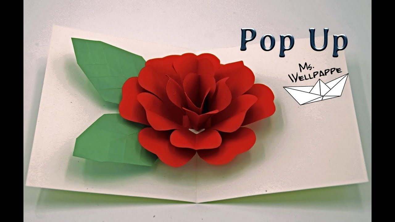 how to make a easy pop up card  flowers  rose  paper