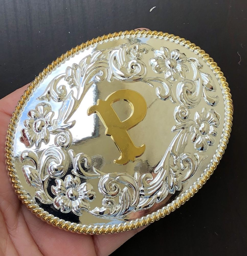 """Initial /""""W/"""" Letter Oval Gold /& Silver Rodeo Western Cowboy Metal Belt Buckle"""