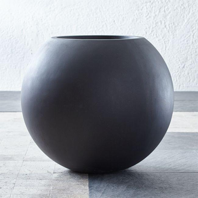 Sphere Large Dark Grey Planter