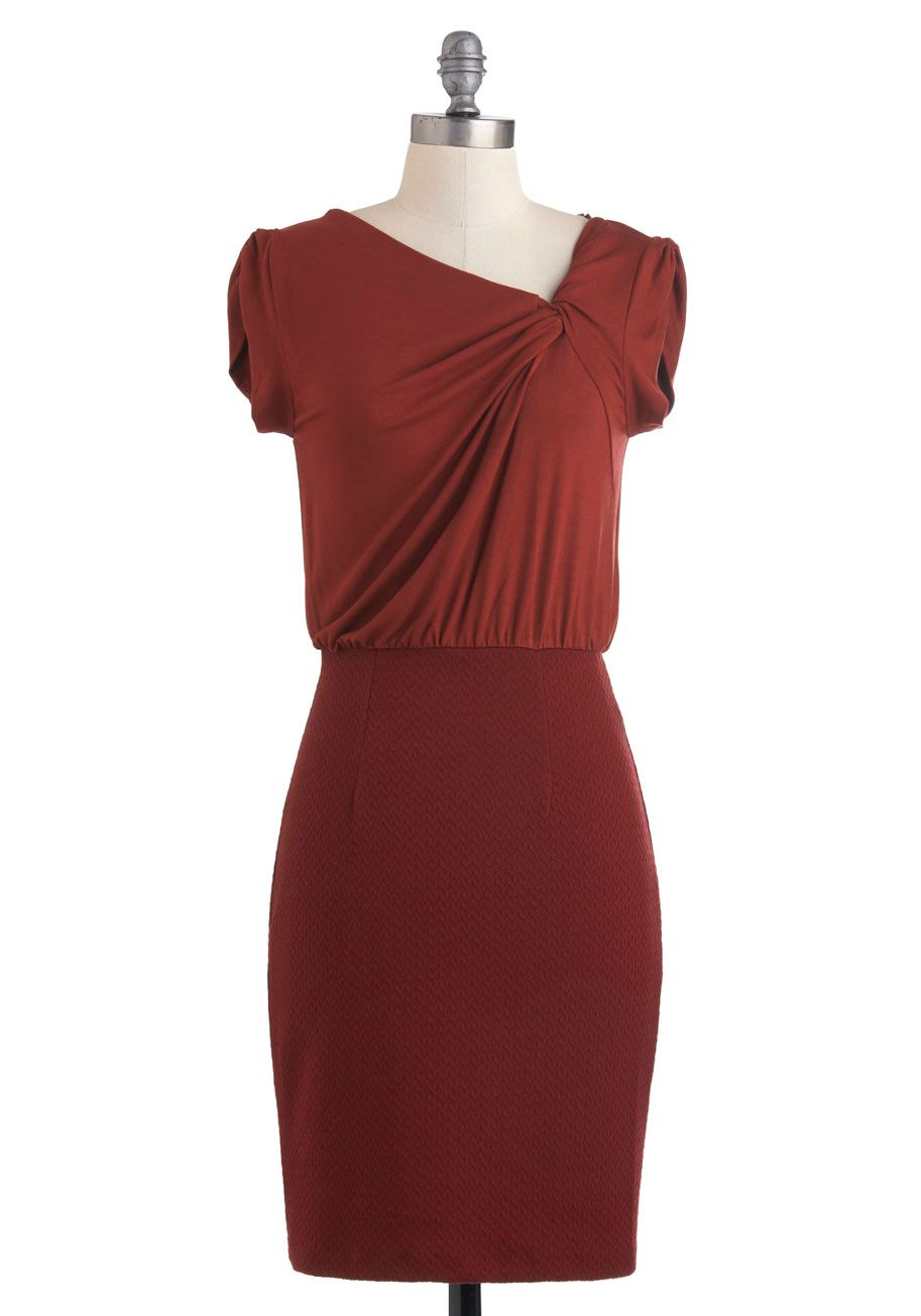 Best of the Russet Dress - Mid-length, Red, Work, Sheath / Shift ...