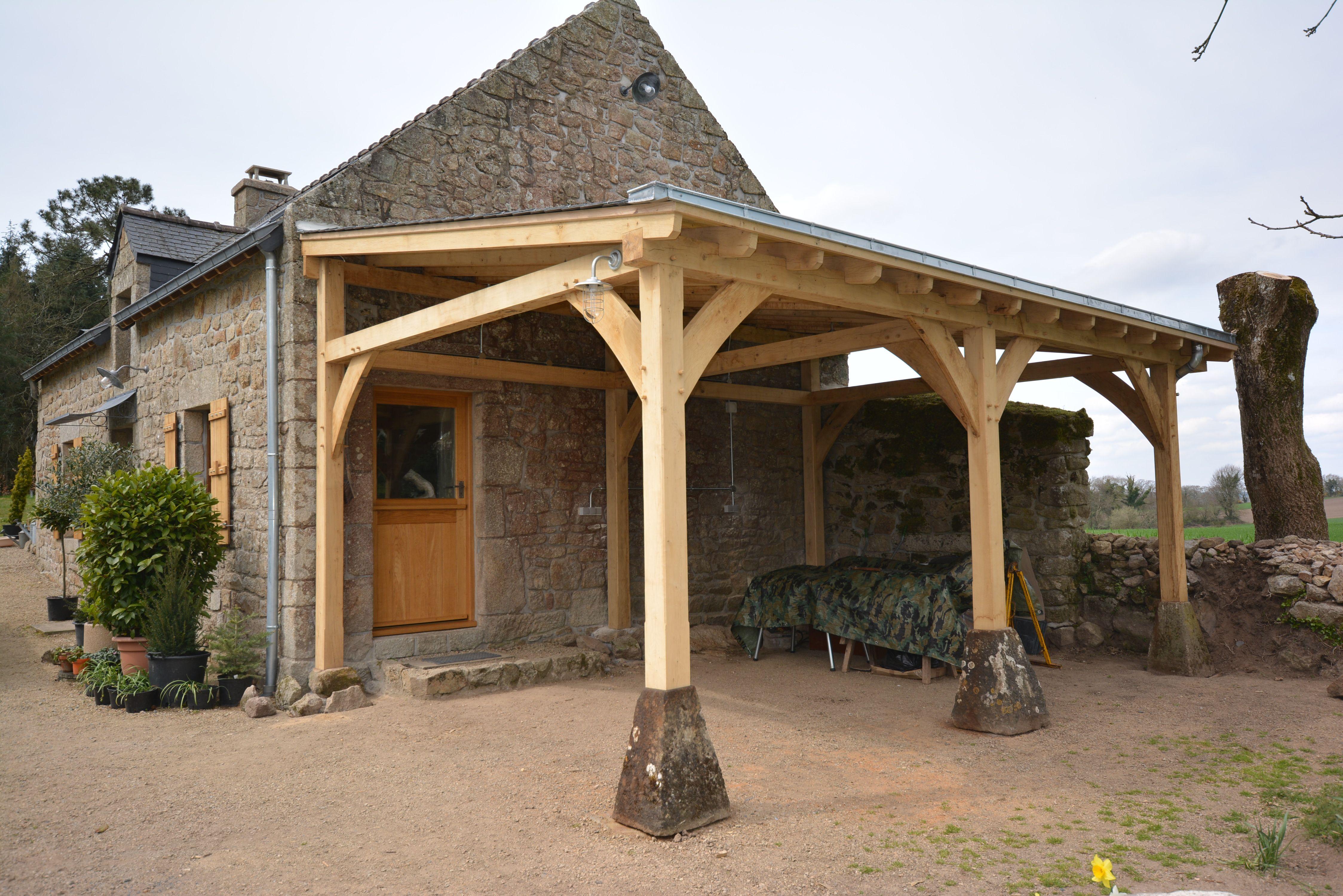 Oak framed car port in Brittany Pergola, Carport