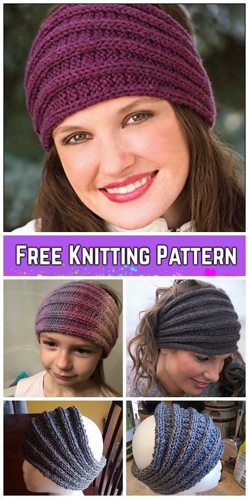 Knit Saturn Rings Ribbed Headband Free Knitting Pattern #knitheadbandpattern