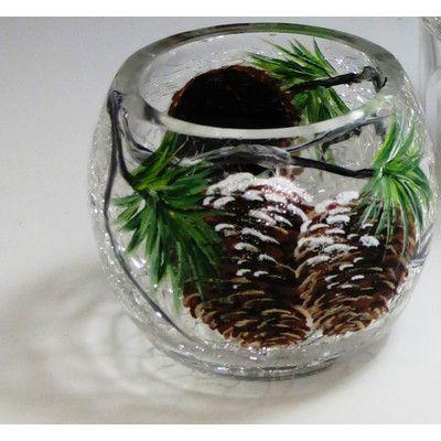 ChristinasHandpainted Winter Pine Cone Hand Painted Glass