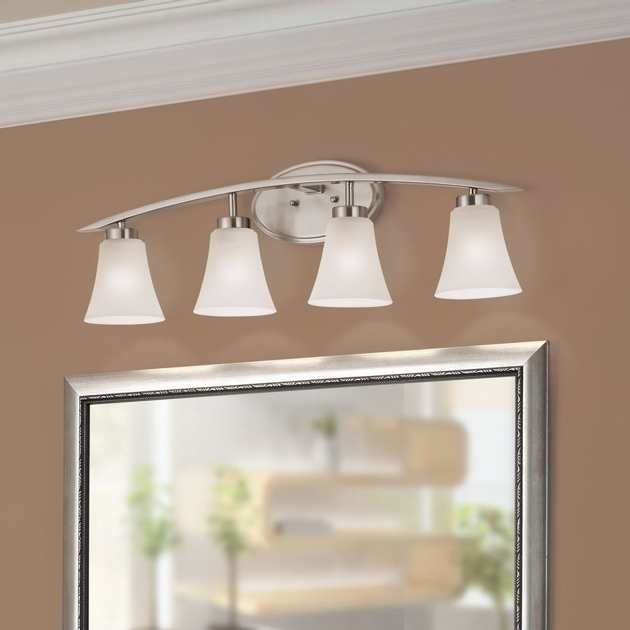 shop portfolio 4light lyndsay brushed nickel bathroom vanity light at lowes com