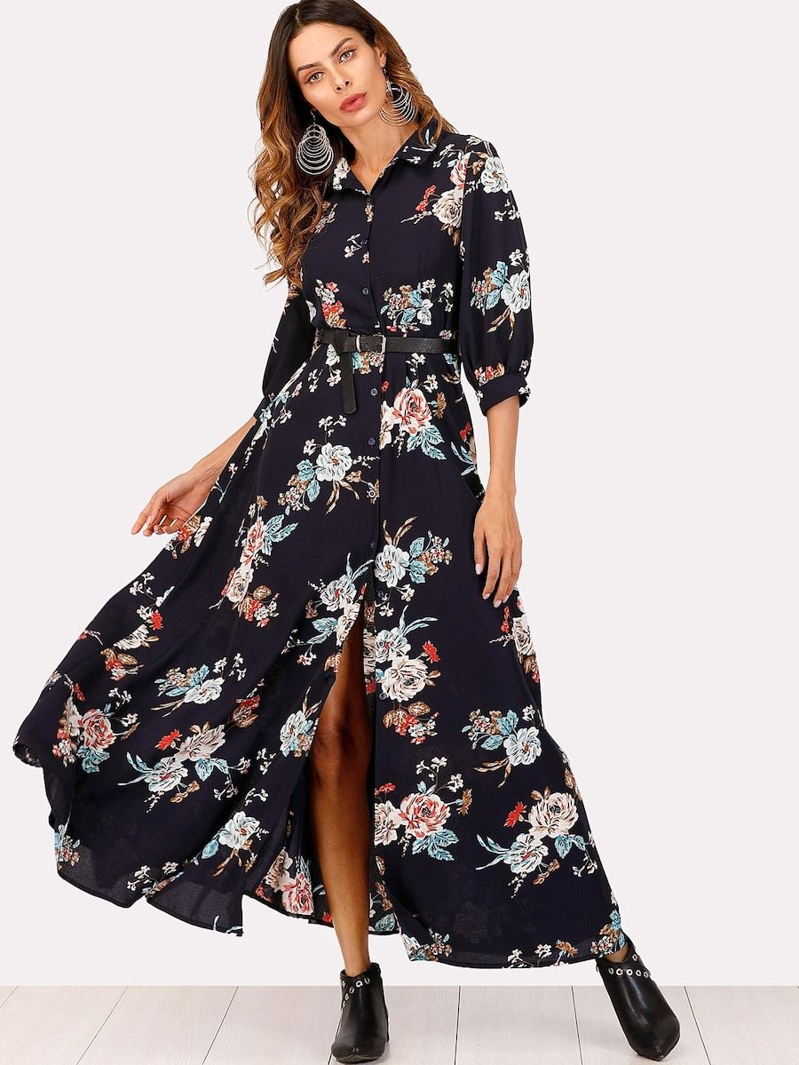 9b2439ab140 Single Breasted Floral Print Split Dress -SHEIN(SHEINSIDE)