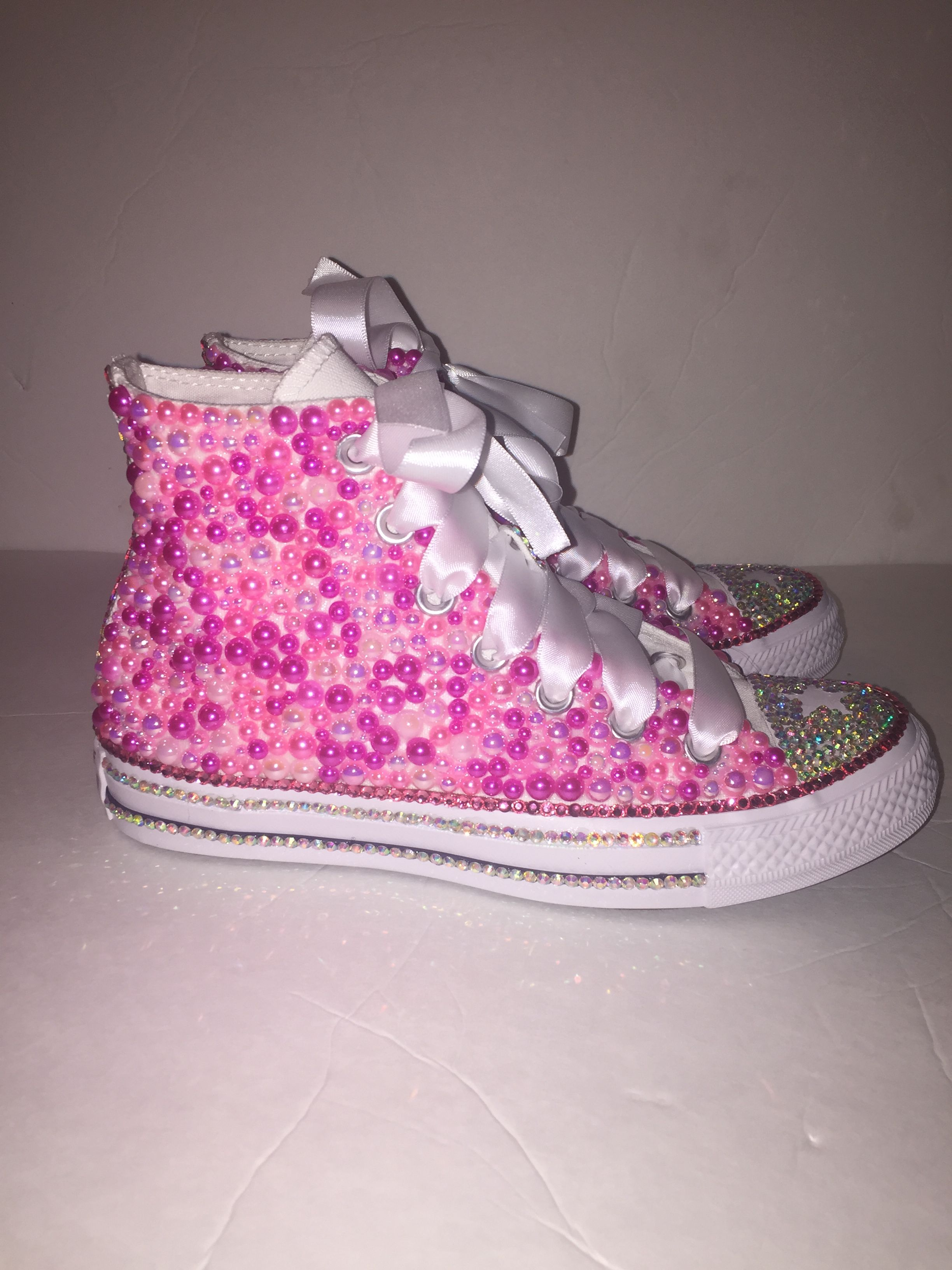 e1e39d761b68  Custom bling Converse All Star Chuck Taylor Sneakers embellished with high  quality rhinestones and pearls. Perfect for weddings shoes