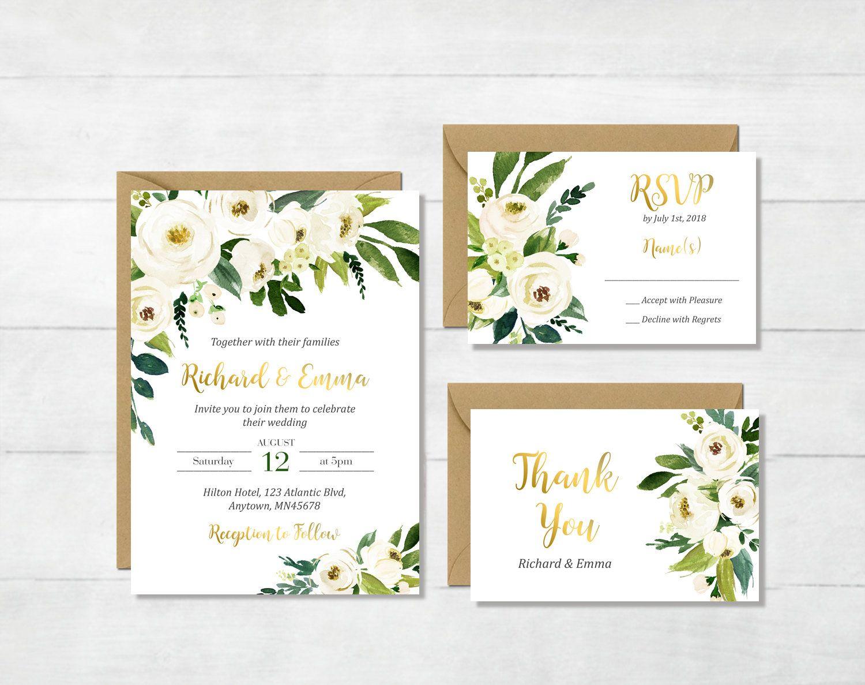 Oro Blanco Imprimible Floral Verde De La Boda Invitacion Etsy Wedding Invitations Boho Wedding Invitations Floral Wedding Invitations