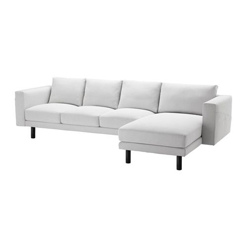 NORSBORG Three seat sofa and chaise longue Finnsta dark grey grey