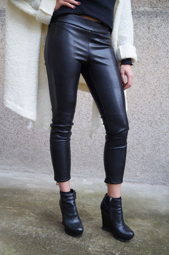eb7907209639 Vegan Leather Pants/Stretchy Pants/Leggings/Skinny Pants/Zipper/Black Vegan  Leather Pants/Moto style