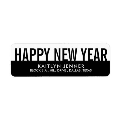 modern happy new year typography black and white label black gifts unique cool diy customize personalize