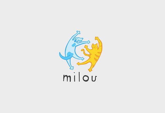 Milou Logo Cool Illustration Style Pet Store Branding Pets