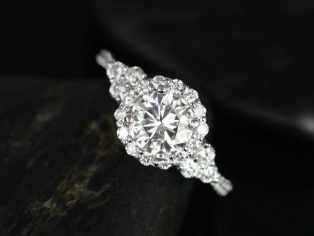 248b7ba2998f2 1.25cts Round Forever One Moissanite Diamonds Heart Cluster Halo 3 ...
