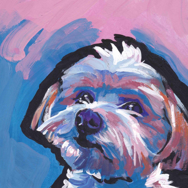 Morkie maltese yorkie portrait art print of pop dog painting ...