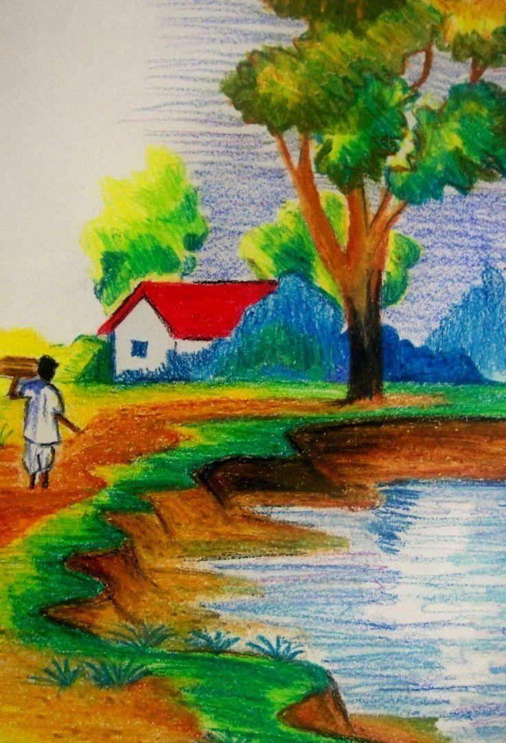 Landscape Easy Drawing Cute Watercolor Picturesque Www Easy Scenery Drawing Nature Drawing Drawing Scenery