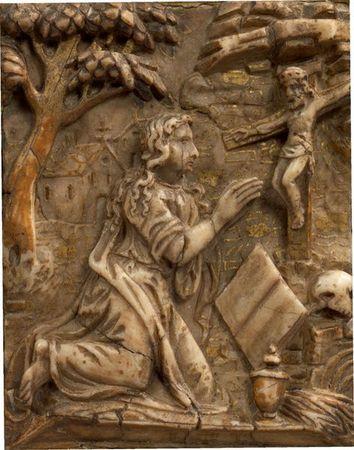 Magdalena en oració, panell d'alabastre atribuït a Tobias Tissenaken s.XVII