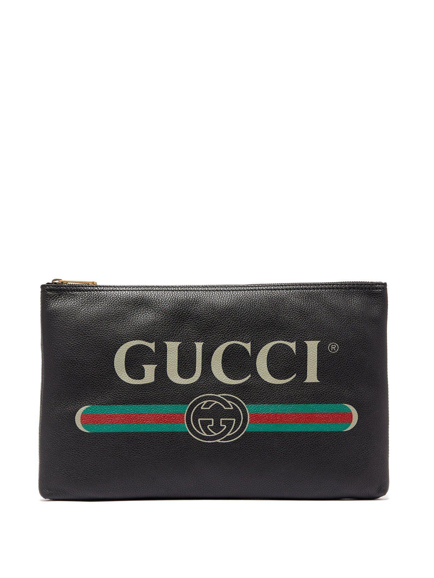 bdeeafeb041 Gucci Logo-print leather pouch
