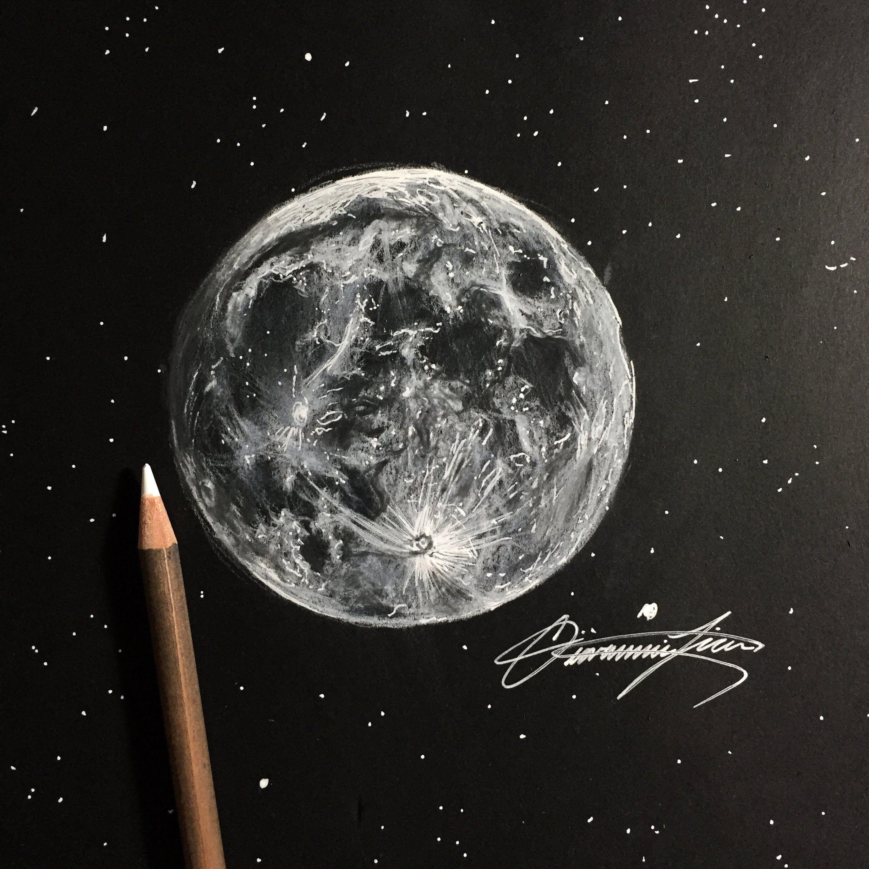 bdf373b6341e78ed72d4917522be8eca » Pencil Realistic Moon Drawing