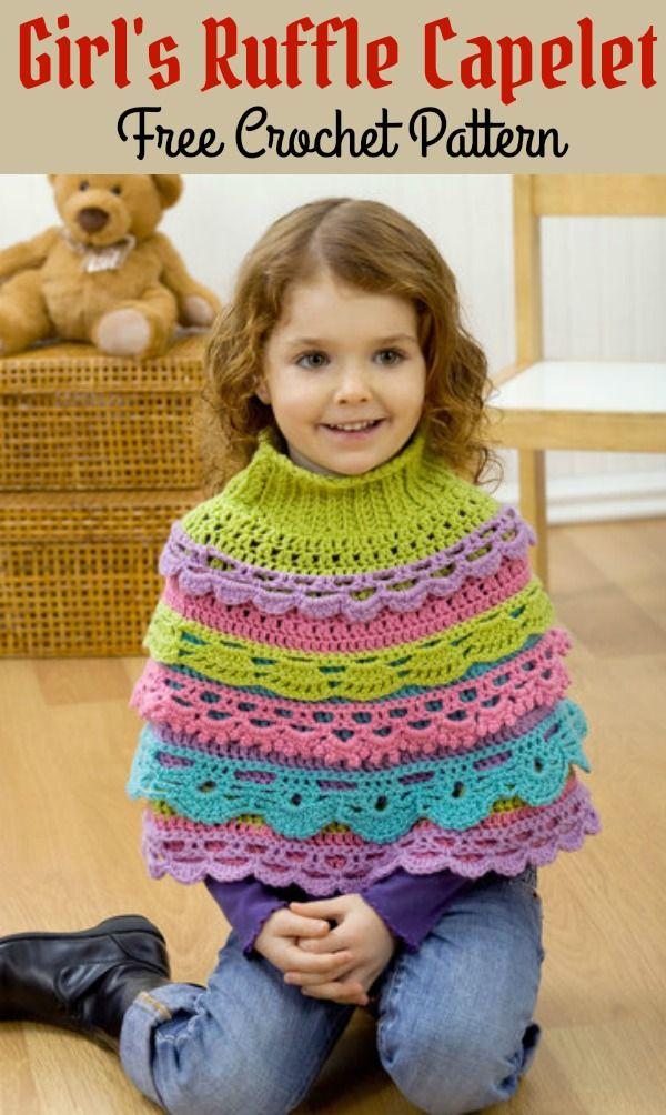 Girl\'s Ruffle Capelet Free Crochet Pattern | DIY3 | Pinterest