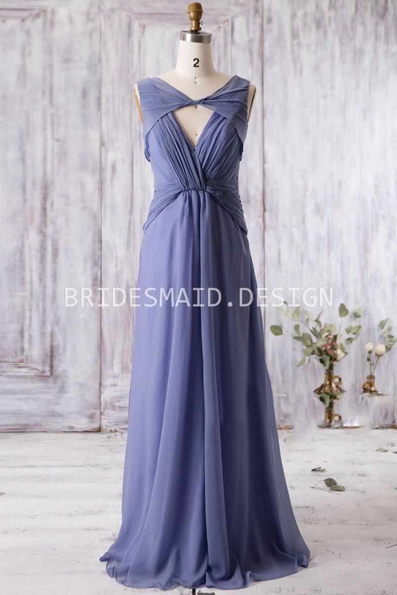 Floor length a line v neck vintage ink blue chiffon bridesmaid dress