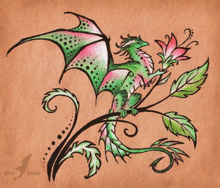 Dragon Tattoo With Flowers: Tattoo Design By AlviaAlcedo.deviantart