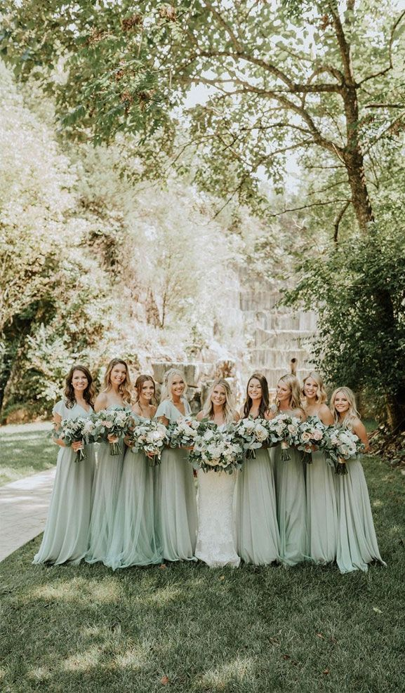 22 Fabulous Sage Wedding Ideas – Sage bridesmaid dresses #bridesmaids #bridalparty #sage bridesmaiddress - Fabmood | Wedding Colors, Wedding Themes, Wedding color palettes