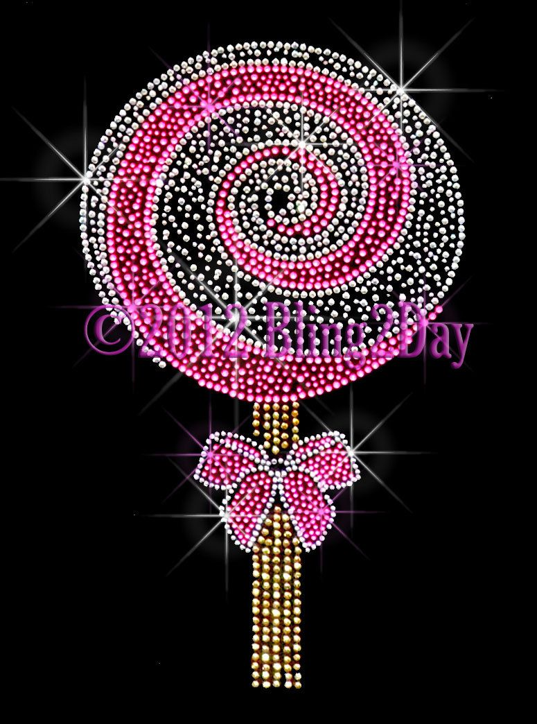 3fee22dc6 Large Pink Lollipop - Iron on Rhinestone Transfer Hot Fix Bling Lolly Pop  Candy - DIY. $7.99, via Etsy.
