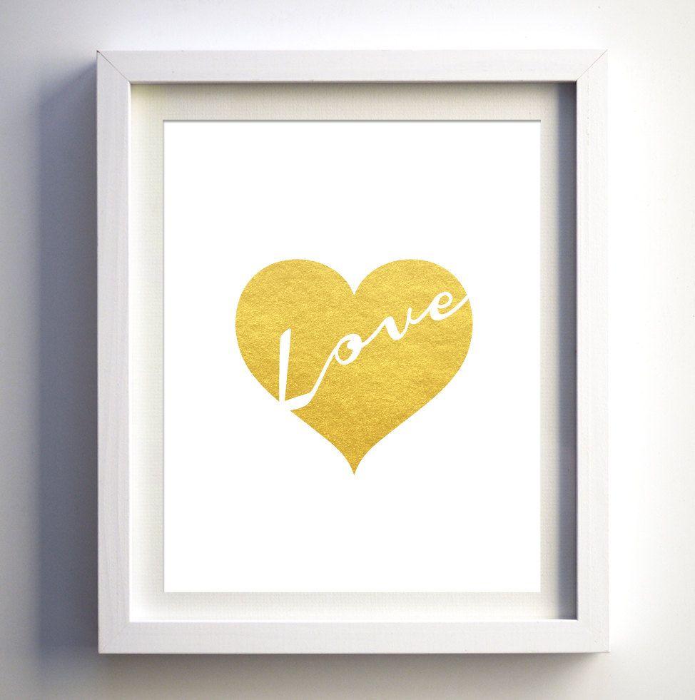 Gold foil heart love art print gold heart wall art digital | GOLD ...