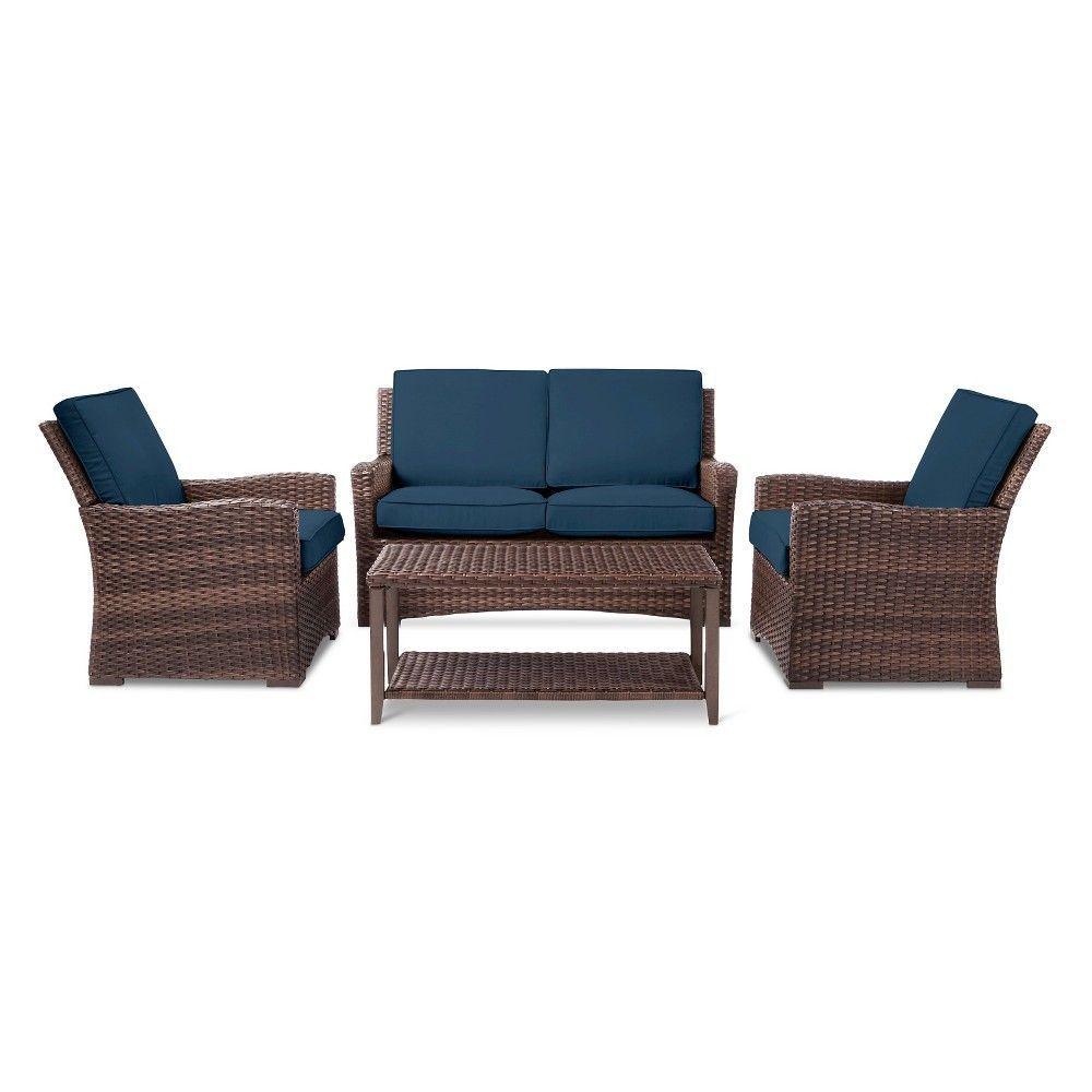 Wicker Patio Furniture Set Navy Blue Threshold