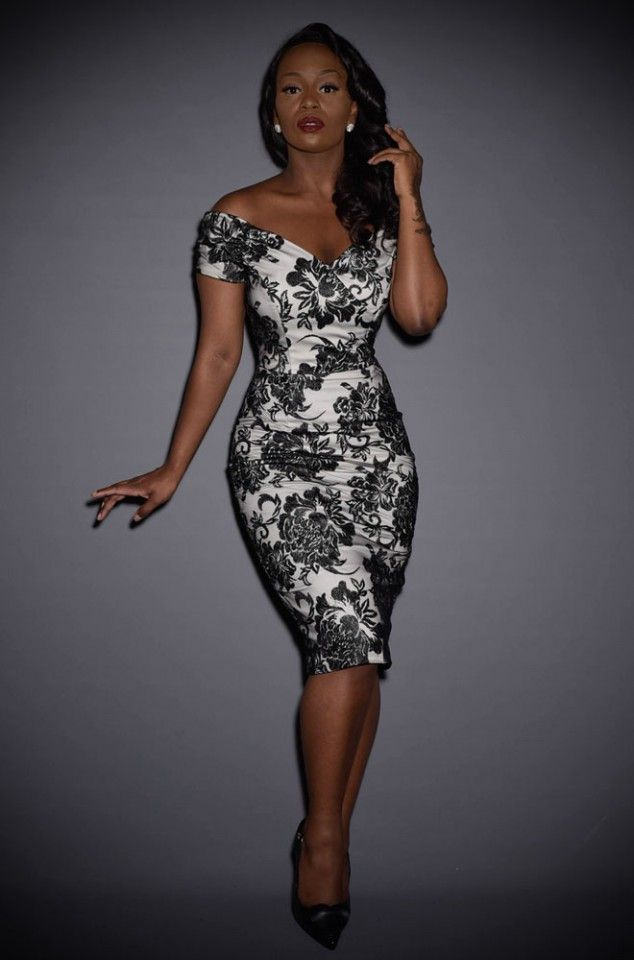 235962dae3d4 The Fatale Silver & Lace Pencil Dress is a black lace wiggle dress by The  Pretty Dress Company at Deadly is the Female. Vintage style at it's best.