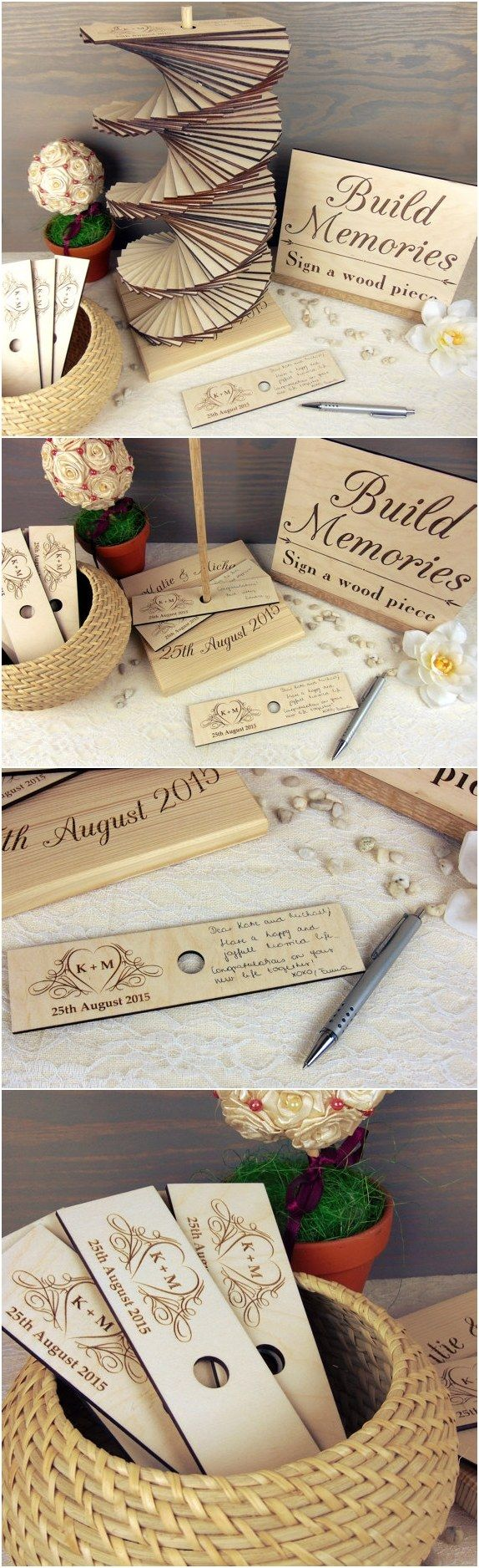 etsy finds: 18 rustic country wood wedding guest books | country