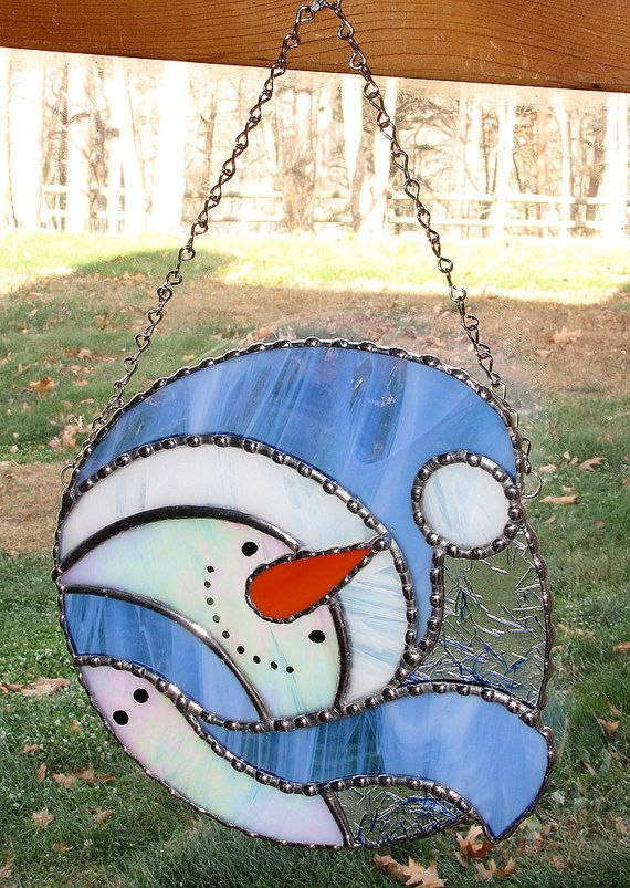 christmas holiday stained glass suncatcher winter by