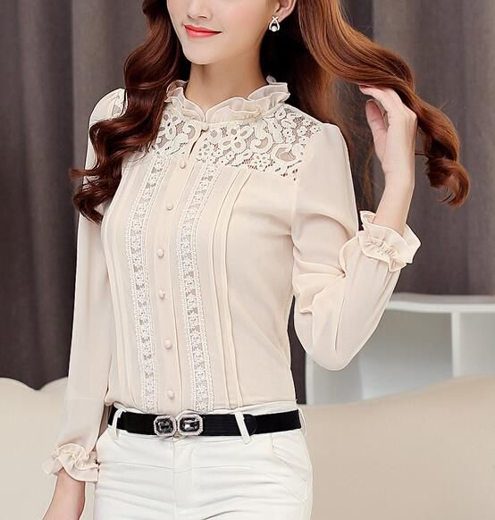 Embroidery Women Tops Blouses 2015 Blusas Femininas Vetement Femme Ruffled Lace Blusas Y Camisas Mujer Plus Size Sexy Blouse