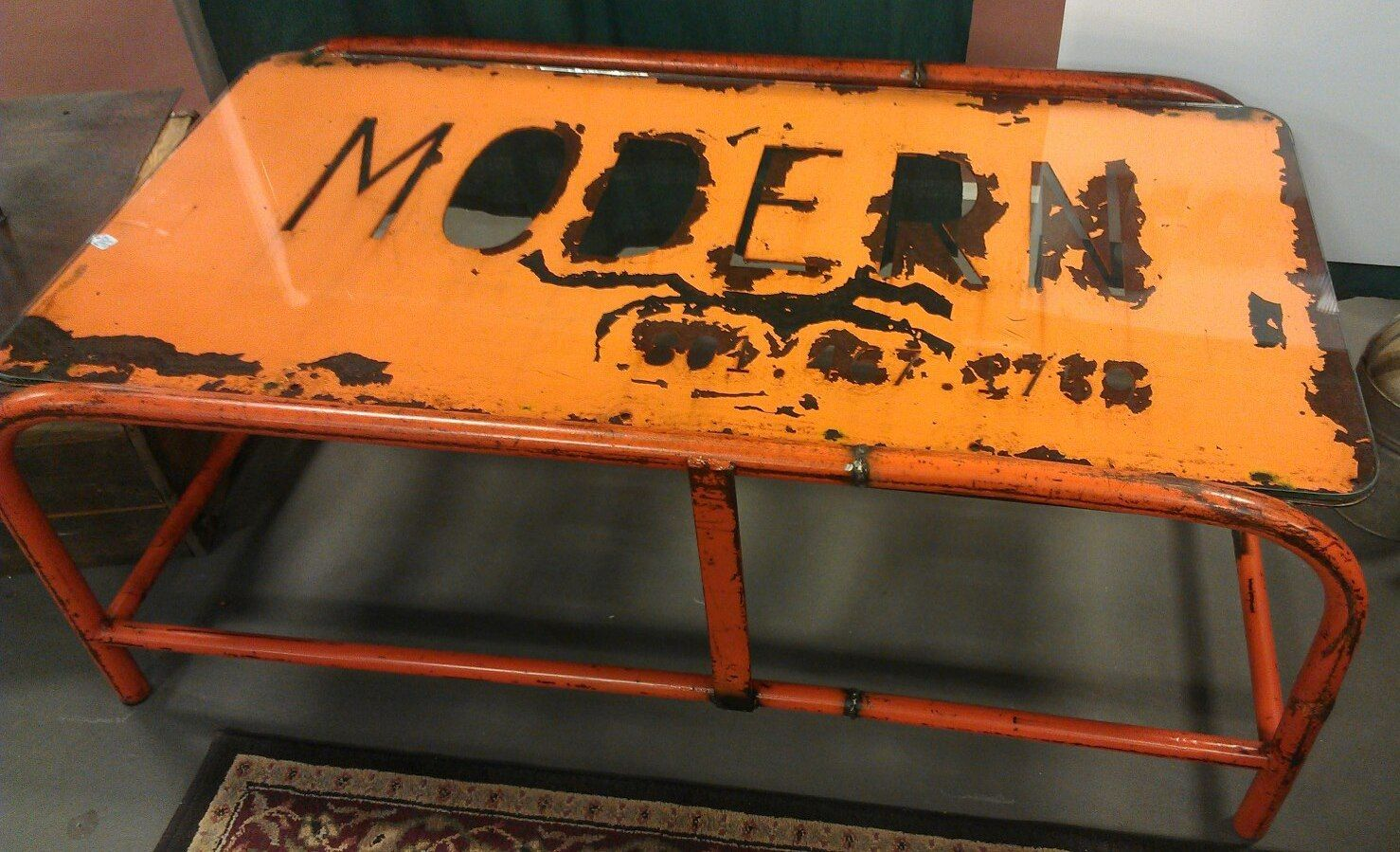 Industrial Coffee Table With Gas Station Sign And Warehouse Cart