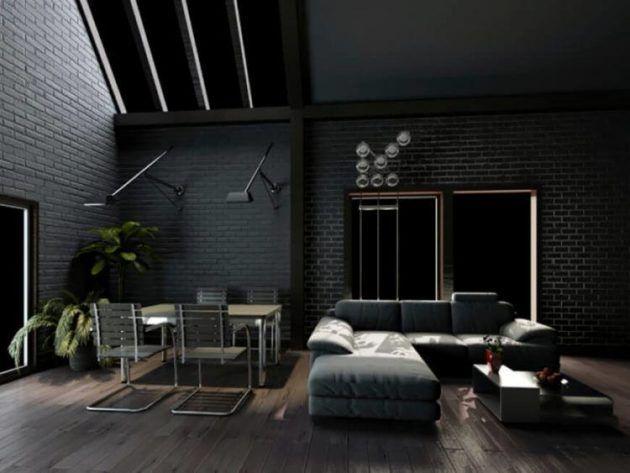 10 Splendid Living Rooms With Black Brick Wall For Dramatic Ambience Dark Grey Living Room Dark Grey Walls Living Room Dark Living Rooms