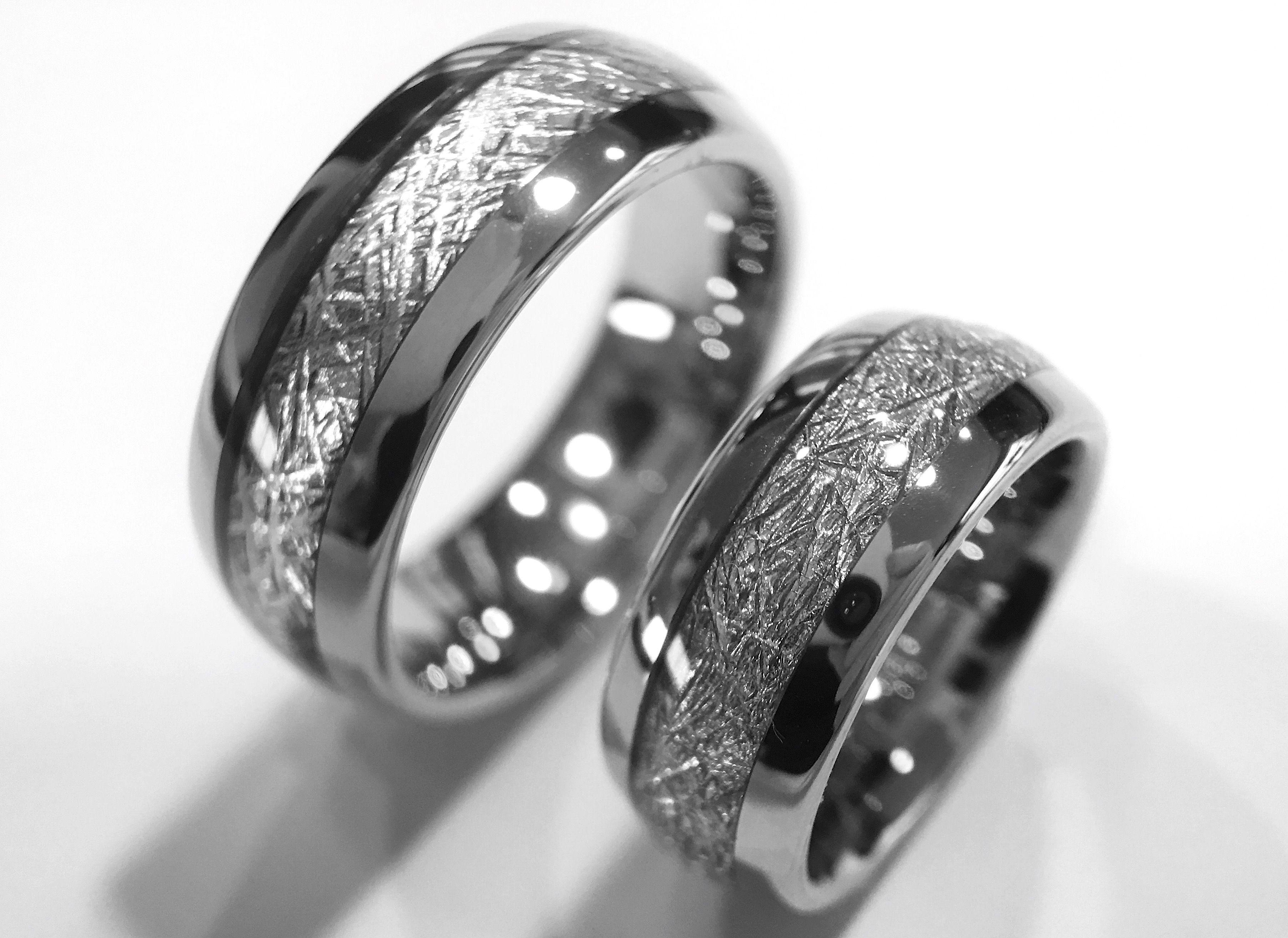 Matching Set of Meteorite Inlay Tungsten Ring, Wedding