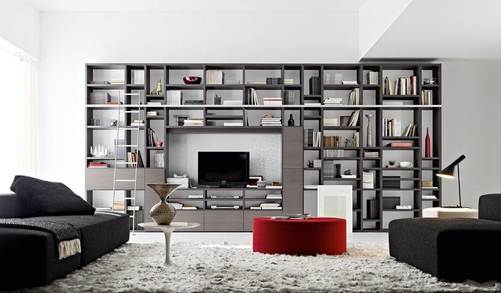 Modern Library Living Room Design Bookshelves In Living Room