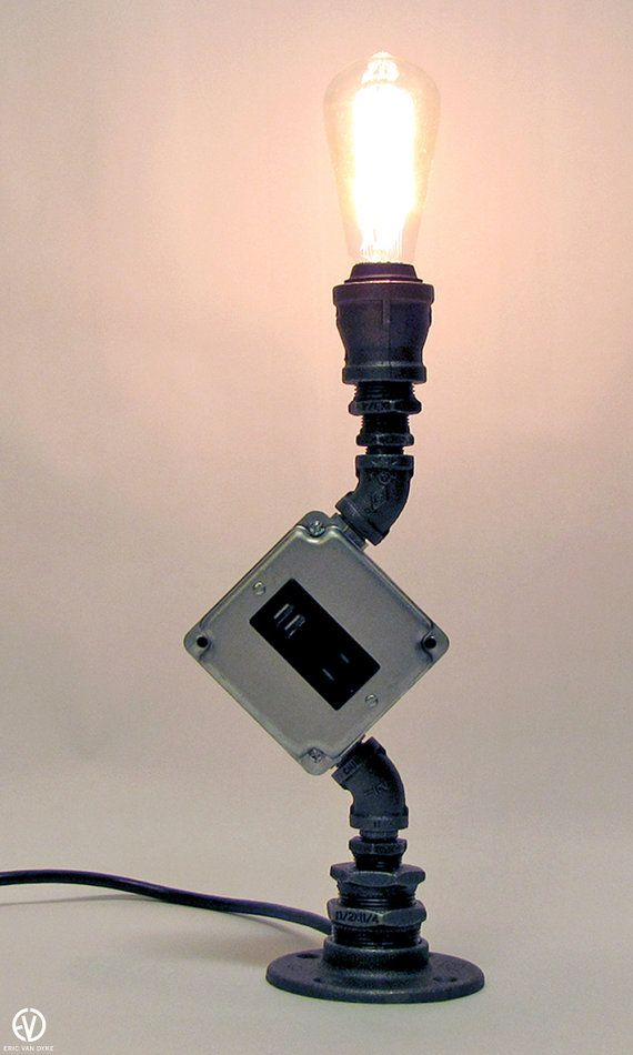 Industrial Black Iron Table Lamp with USB Charger by ...