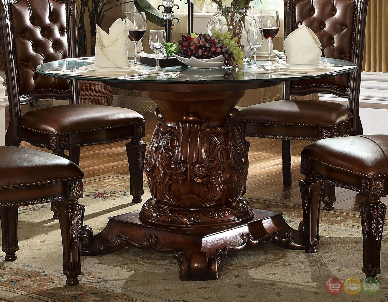 Vendome Traditional Glass Top 54 Round Dining Table In Brown