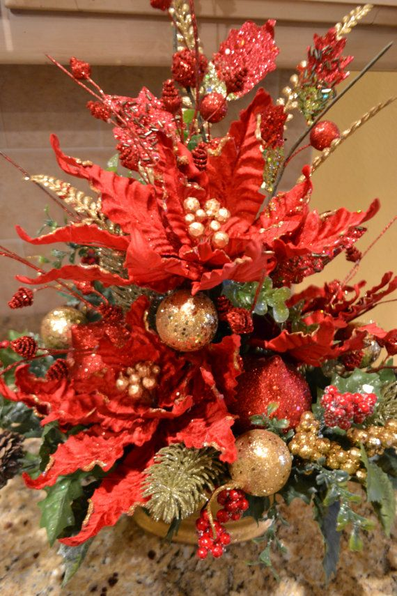 Arreglo elegante flor de pascua lelis navidad for Centros de mesa navidenos elegantes